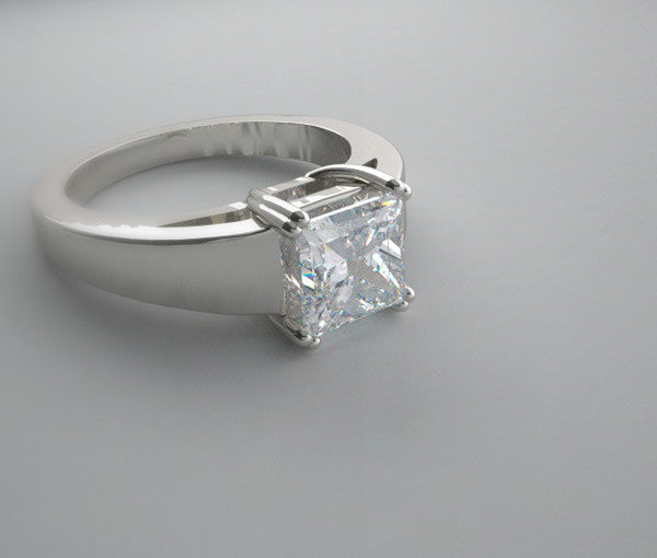 Gold Wide Ring Setting For Princess Cut