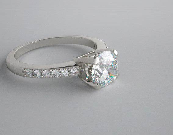 14K White Gold Engagment Ring Setting With Diamond accents