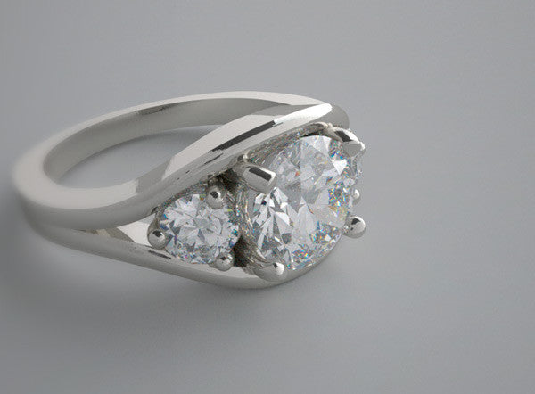 WHITE GOLD CHARMING RING SETTING SET WITH TWO DIAMONDS ON EITHER SIDE OF CENTRAL GEM  ENGAGEMENT RING OR WEDDING