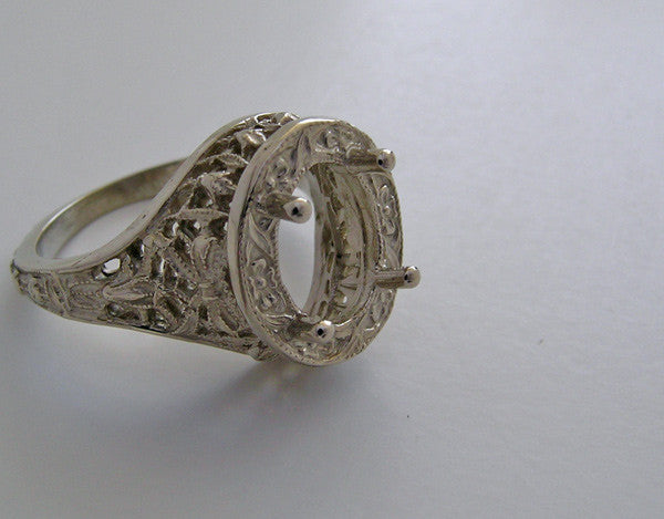 14K ANTIQUE ART DECO VINTAGE STYLE FILIGREE ENGAGEMENT RING SETTING