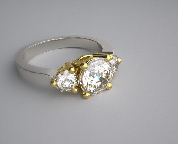 Two Tone Gold  Diamond Three Stone Ring Setting for a 1.25 Carat round diamond