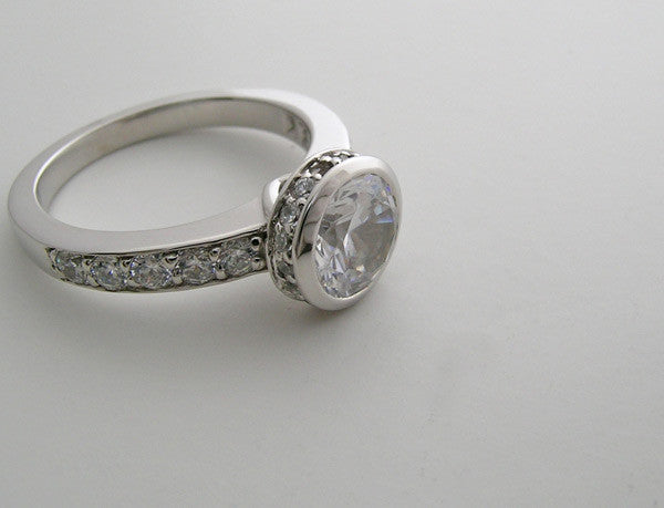 Gold Bezel Engagement Ring Setting With Diamond Halo