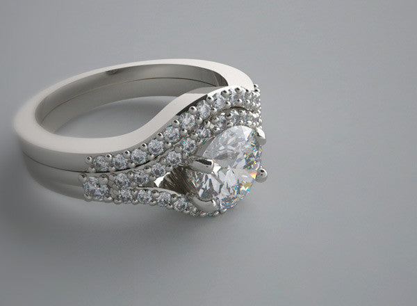 OUTSTANDING  PAVE DIAMOND ACCENTED RING SETTING SET