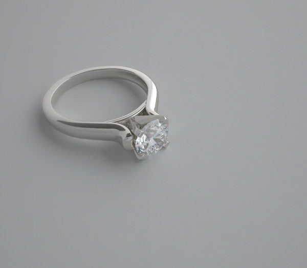 CHARMING  ENGAGEMENT RING MOUNTING WITH FEMININE UNIQUE TULIP FOUR PRONG DESIGN SETTING