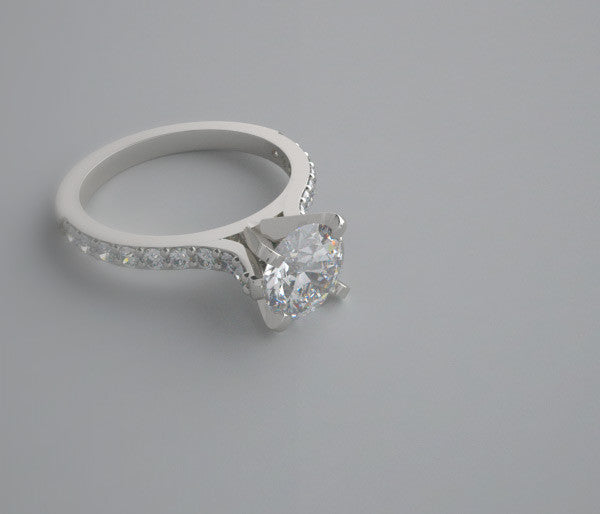 ENGAGMENT RING SETTING FEMININE  WITH DIAMOND ACCENTS