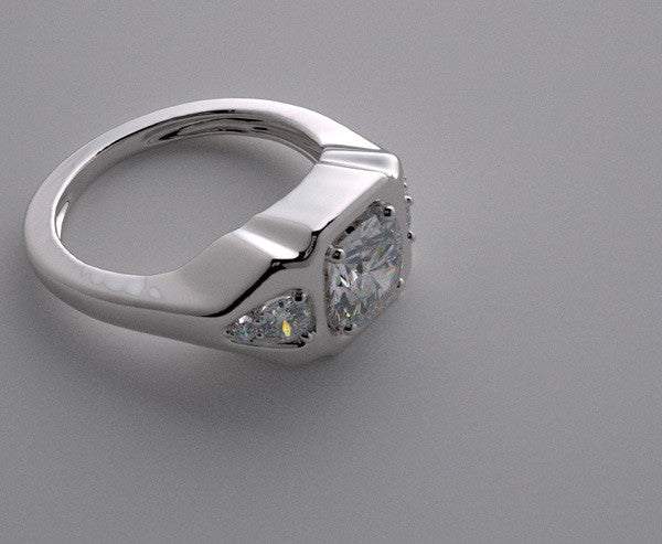 THREE STONE  DIAMOND ACCENT ENGAGEMENT RING SETTING