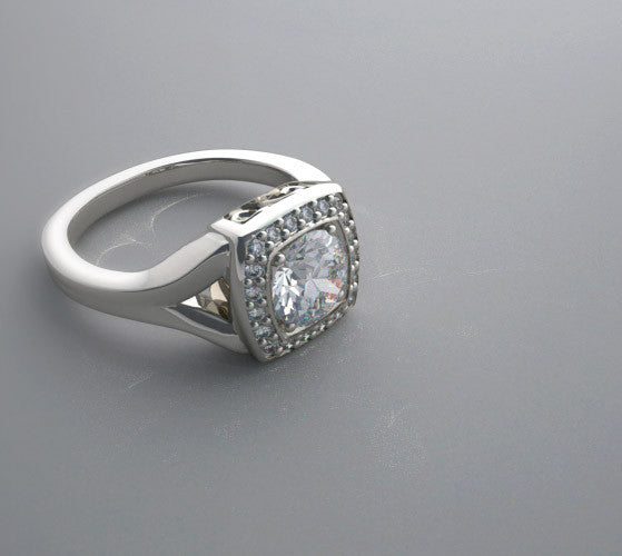 FLUSH RING SETTING ART DECO STYLING WITH DIAMOND HALO ACCENT