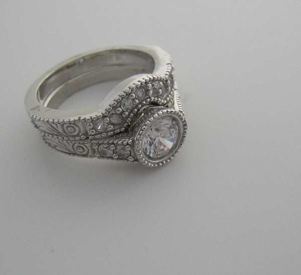 OUTSTANDING VINTAGE STYLE ENGAGEMENT RING SETTING SET DIAMOND ACCENTS MIL GRAINED