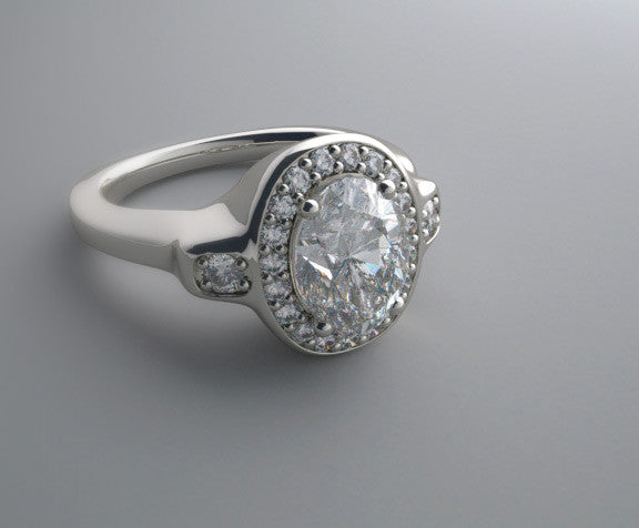 OVAL DIAMOND HALO ENGAGEMENT RING SETTING