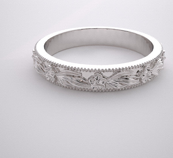 CHERRY BLOSSOMS DESIGN WEDDING RING BAND