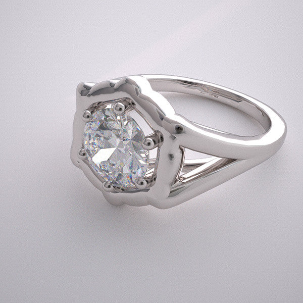 TRADITIONAL FLUSH BEZEL PRONG RING SETTING