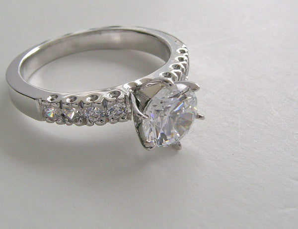 Platinum Ring Setting With Diamond Accents Fishtail Design
