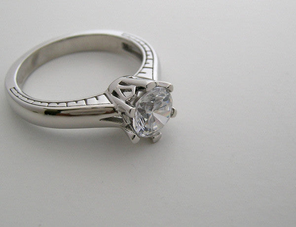 UNIQUE SOLITAIRE ENGAGEMENT RING SETTING WITH SIMPLISTIC ENGRAVED DESIGN