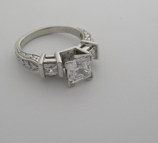 PRINCESS CUT ENGRAVED DIAMOND  ENGAGEMENT  RING SETTING OR REMOUNT RING