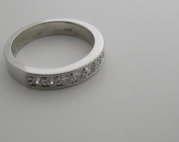 14K White Gold Diamond Wedding Ring  0.50 Ct.,