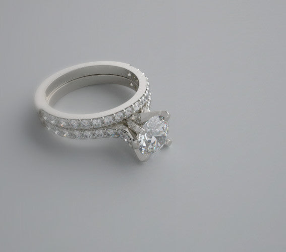 CLASSIC ENGAGEMENT RING SETTING AND MATCHING WEDDING RING WITH DIAMOND ACCENT  SET T.C.W. 0.70 CT.