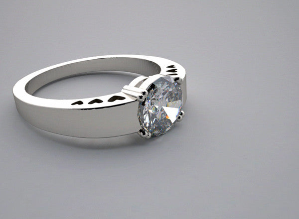 ENGAGEMENT RING SETTING WITH HEARTS MOTIFS  DESIGN
