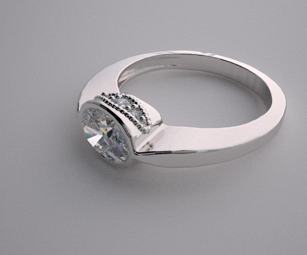 EAST WEST OVAL SHAPE STONE DIAMOND ACCENT RING SETTING