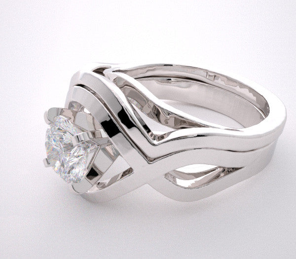 14K white gold engagement ring setting set