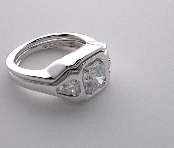 THREE STONE DIAMOND ENGAGEMENT RING AND MATCHING BRIDALWEDDING  BAND