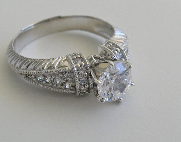 DIFFERENT ENGAGEMENT RING SETTING ANTIQUE DECO STYLING WITH PAVE DIAMOND ACCENTS