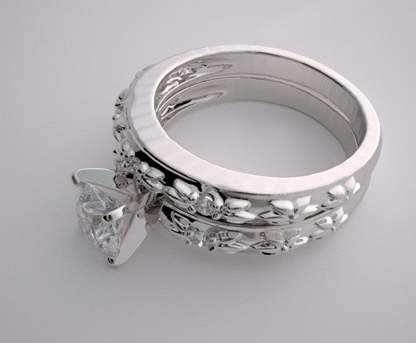 ENGAGEMENT BRIDAL RING SETTING SET HAVING ELEGANT BARK DESIGN WITH DIAMOND ACCENTS