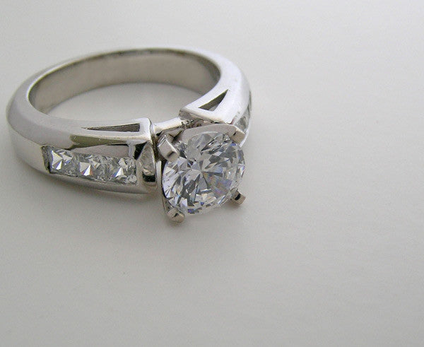 ILLUSION SET PRINCESS CUT ACCENT DIAMOND ENGAGEMENT RING SETTINGS