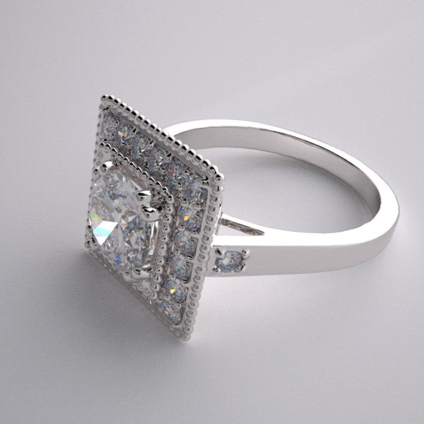 HEIRLOOM STYLE ENGAGEMENT RING SETTING DIAMOND ACCENTED DECO STYLE