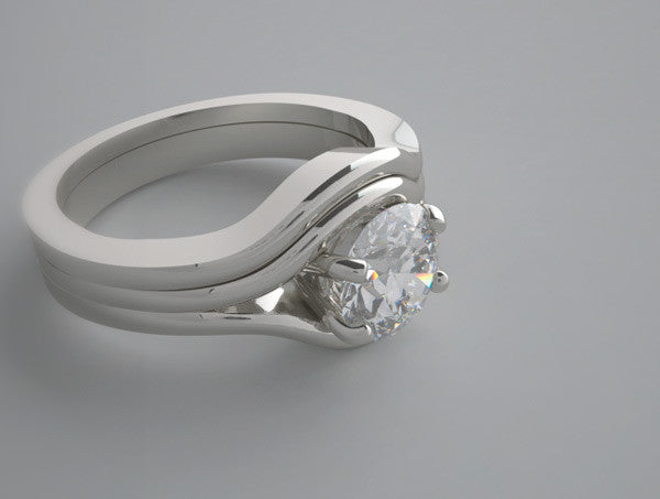 CLASSICAL UNUSUAL SOLITAIRE ENGAGEMENT RING SETTING AND BRIDAL WEDDING BAND
