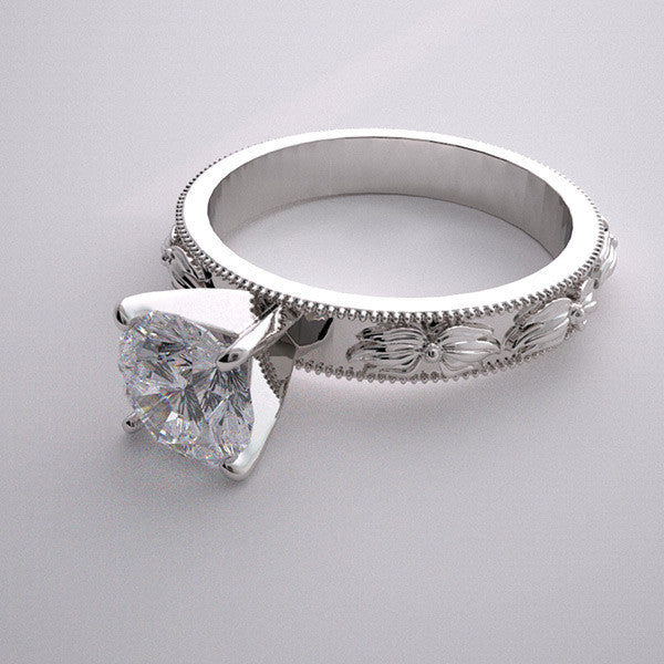 14K White Gold Nature Flower Ring Setting