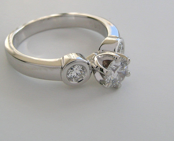 Platinum Three Stone ring Setting Bezel Settings