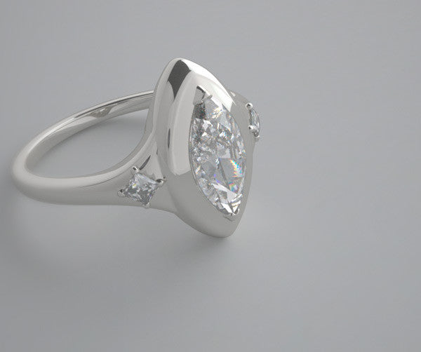 DESIGNER MARQUISE SHAPE RING SETTING WITH DIAMOND ACCENTS