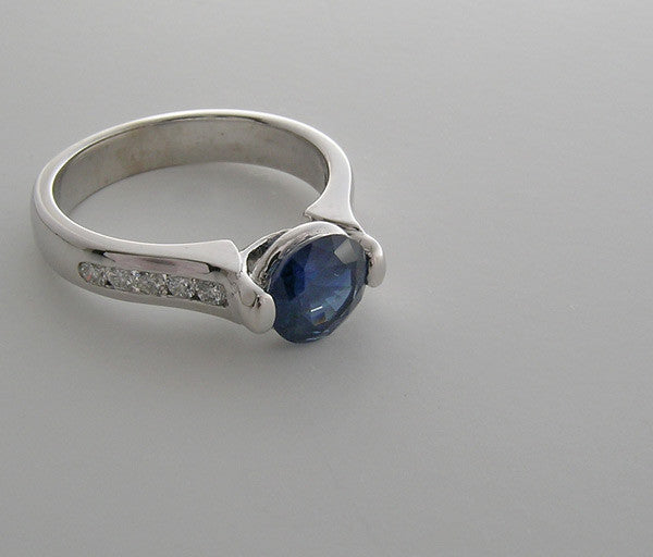 14K White Gold Sapphire and Diamond Engagement right Hand Ring