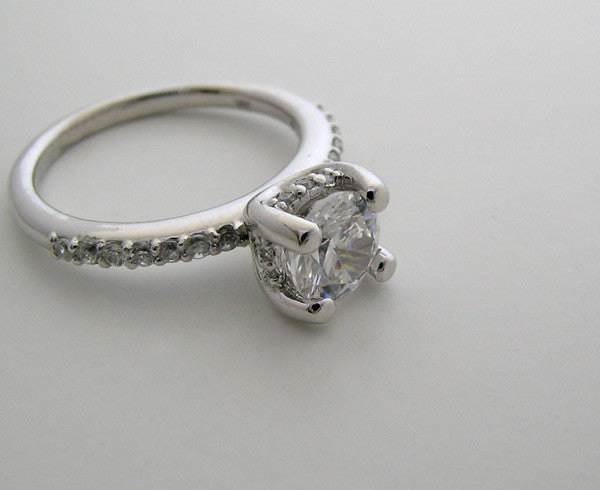 14K White Gold Diamond Engagement Ring Setting Feminine Design