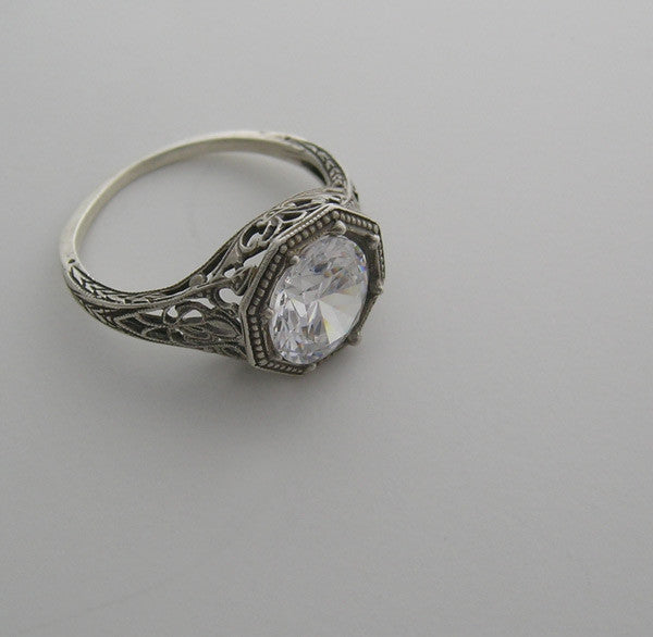 White Gold Art Deco Style Ring Setting 8.00 MM