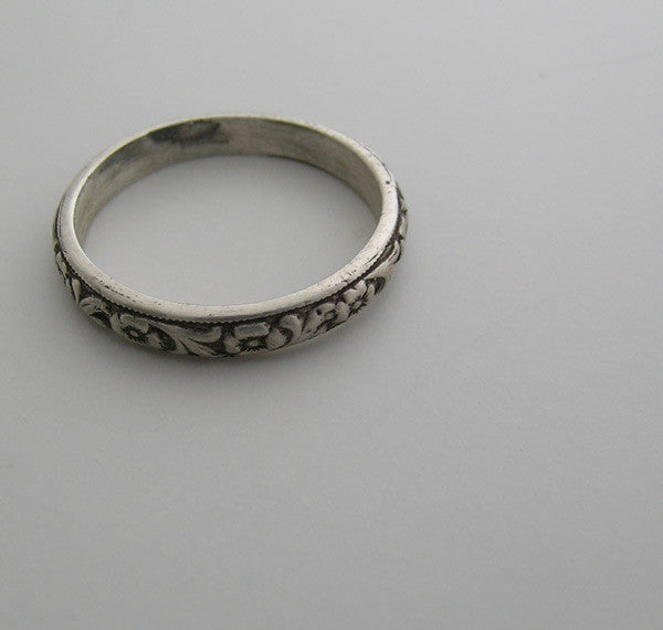 14K GOLD WEDDING BAND STACK RING ANTIQUE ENGRAVING