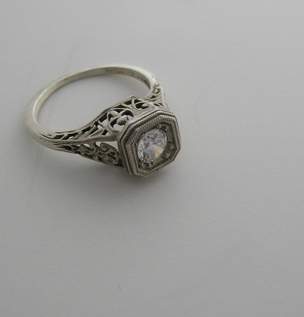 14K White Gold Vintage Style Ring Setting