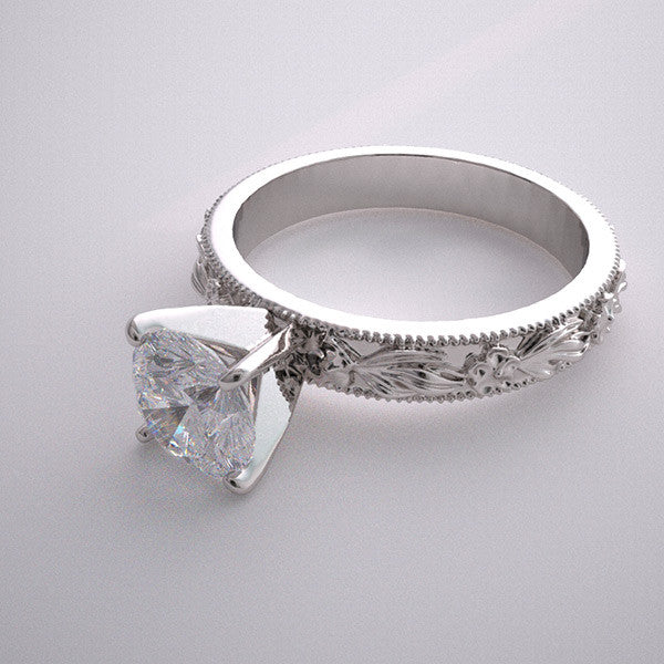 Nature Inspired Ring Setting White Gold