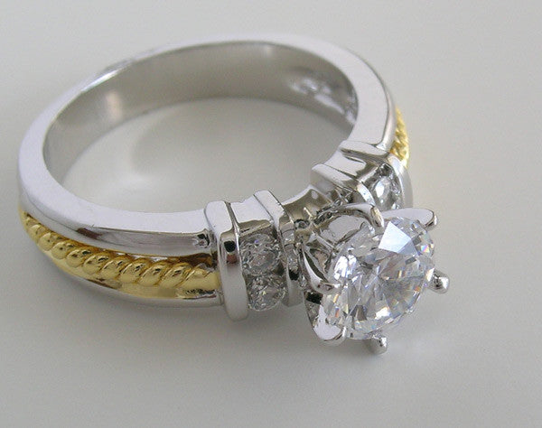 TRADITIONAL ENGAGEMENT RING SETTING TWO TONE GOLD DIAMOND ACCENTS