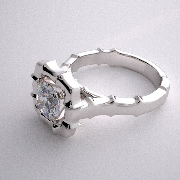 NON TRADITIONAL BAMBOO DESIGN FLUSH SET BRIDAL ENGAGEMENT RING SETTING