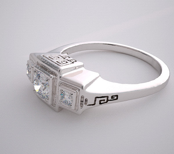 THREE STONE ENGAGEMENT RING SETTING WITH STYLIZED GREEK KEY DESIGN