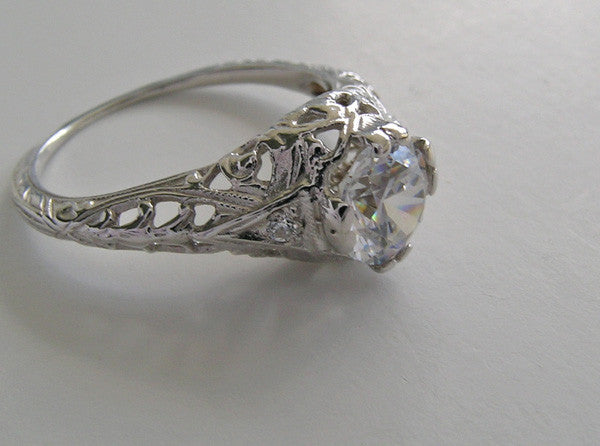 FEMININE ART DECO SOLITAIRE FILIGREE ENGAGEMENT RING SETTING