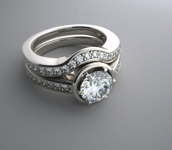 ELEGANT ENGAGEMENT RING SETTING REMOUNT WITH MATCHING WEDDING RING BAND AND DIAMOND ACCENTS P