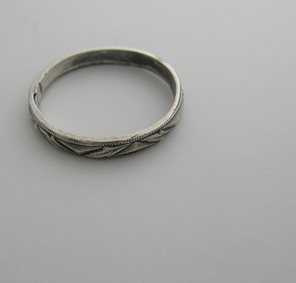 WEDDING BAND RING 14K GOLD VINTAGE ANTIQUE ART DECO DESIGN