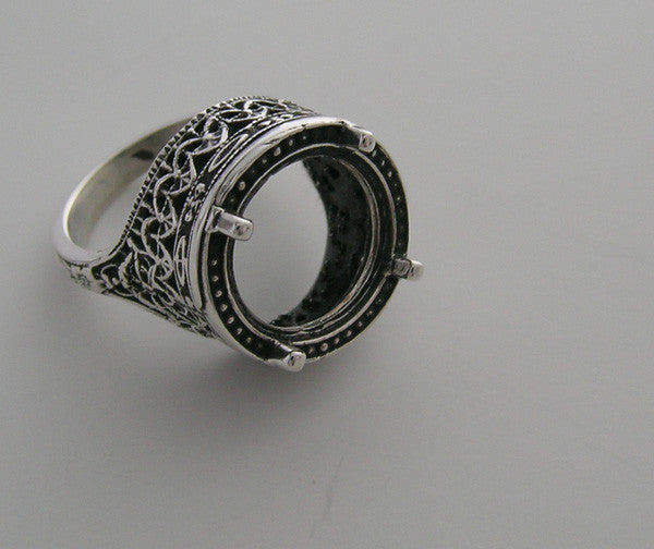 14K ANTIQUE STYLE 14K GOLD FILIGREE RING SETTING 12MM STONE