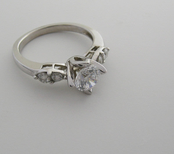 TULIP DESIGN ENGAGEMENT RING SETTING  WITH FEMININE DIAMOND ACCENTS