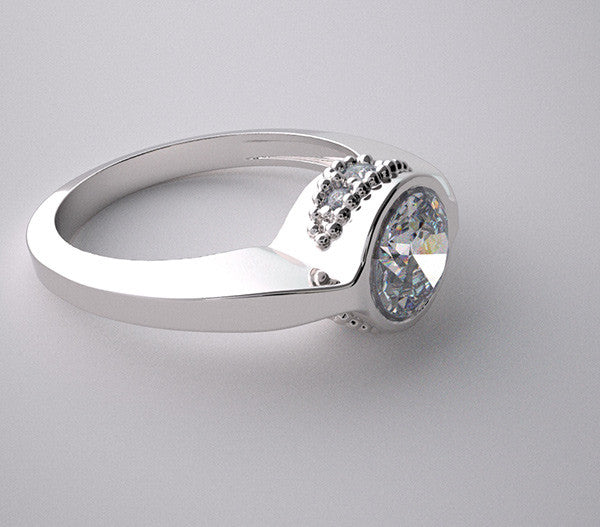 NON TRADITIONAL ENGAGEMENT RING SETTINGS DIAMOND ACCENTS  WITHOUT CENTER STONE
