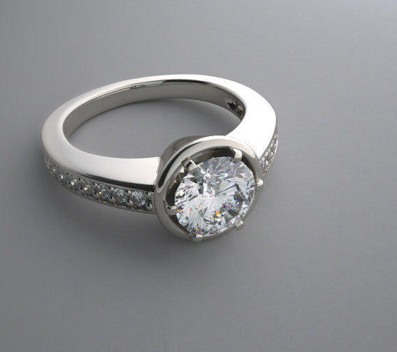 ELEGANT ENGAGEMENT RING SETTING REMOUNT WITH DIAMOND ACCENTS PRONGED BEZEL