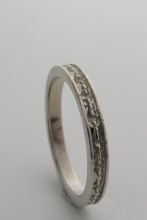 GOLD WEDDING BAND RING ART NOUVEAU ANTIQUE STYLE ENGRAVED