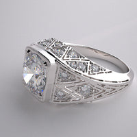 ENGAGEMENT RING SETTING BEAUTIFUL ART DECO ANTIQUE STYLE WITH DIAMOND ACCENTS